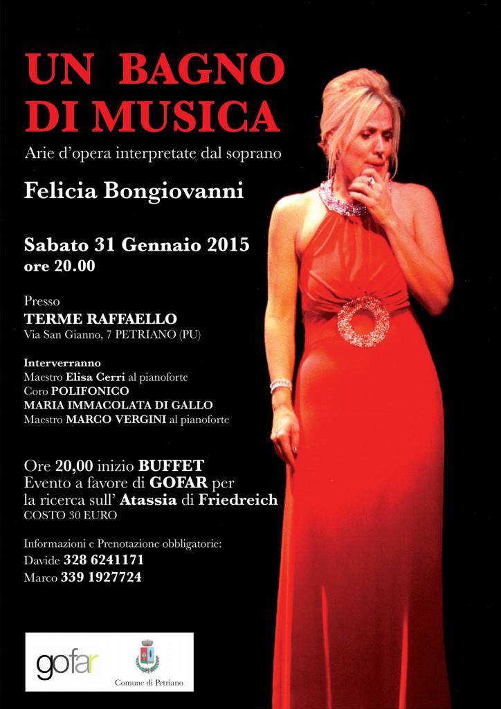 Grande evento Musicale  e di Solidarieta' alle Terme di Raffaello . Petriano (Urbino), 31 gennaio 2015.